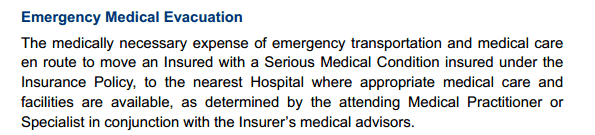 Emergency Medical Evacuation insurance definition