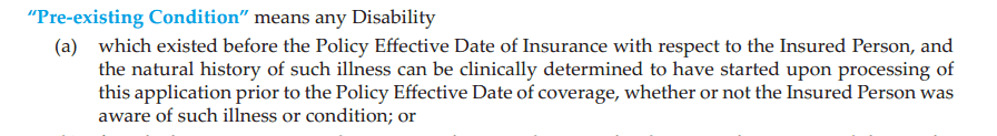 Pre-Existing condition insurance definition