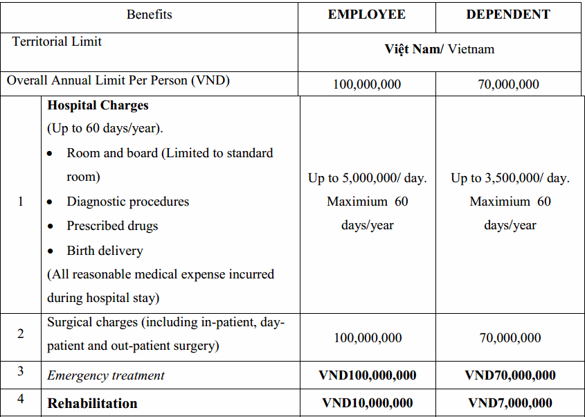 Insurance benefits and price table
